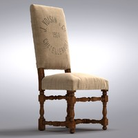 Restoration Hardware - 1890 English Baroque Side Chair Printed Burlap